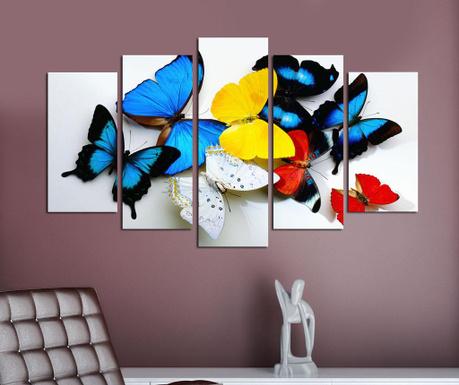 Zestaw 5 obrazów Butteflies