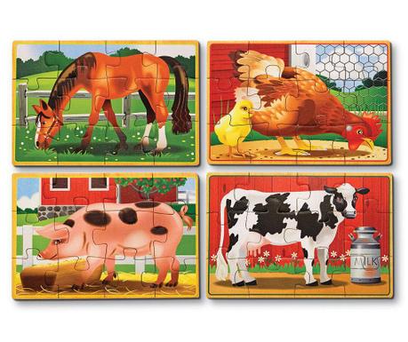 Set 4 slagalice od 12 dijelova Our Animals