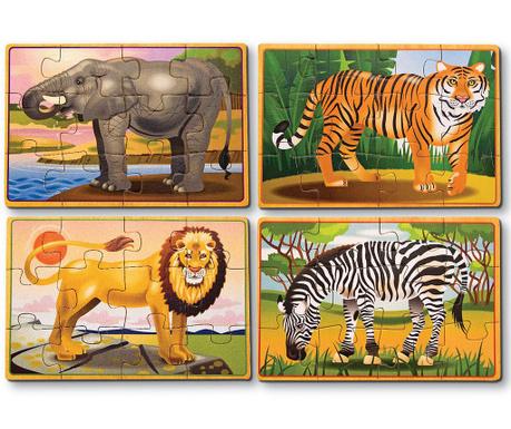 Zestaw 4 par puzzli 12 elementów Wild Life