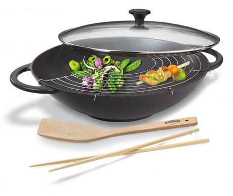 Zestaw patelnia wok ze szpatułką i pałeczkami Valeria