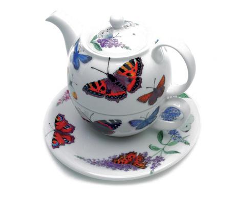 Set ceainic cu ceasca si farfurioara Butterfly Garden