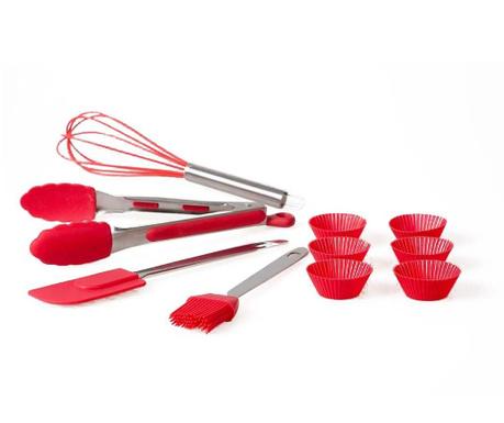 Silver & Red 4 db Konyhai eszköz és 6 db muffin forma