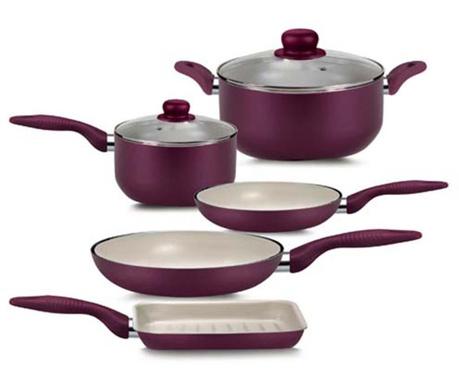 Siedmioczęściowy zestaw naczyń do gotowania Ecoceram Rubino
