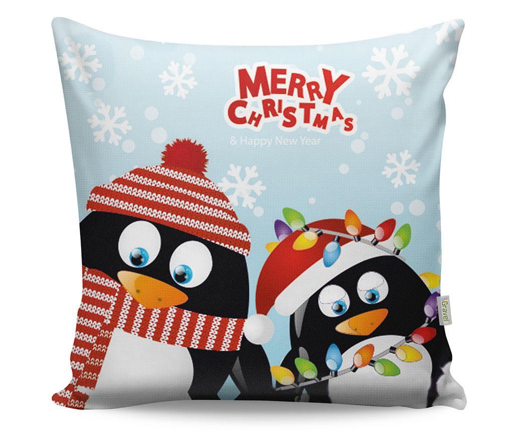 Okrasna blazina Merry Christmas Penguins 43x43 cm