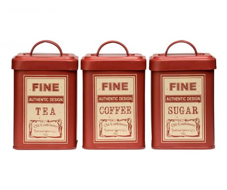 Set of 3 canisters Whitby Red