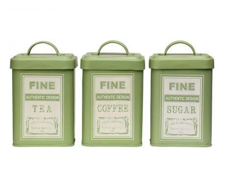 Set of 3 canisters Whitby Green