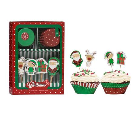 48 delni set za peko mafinov Party Cupcakes Christmas