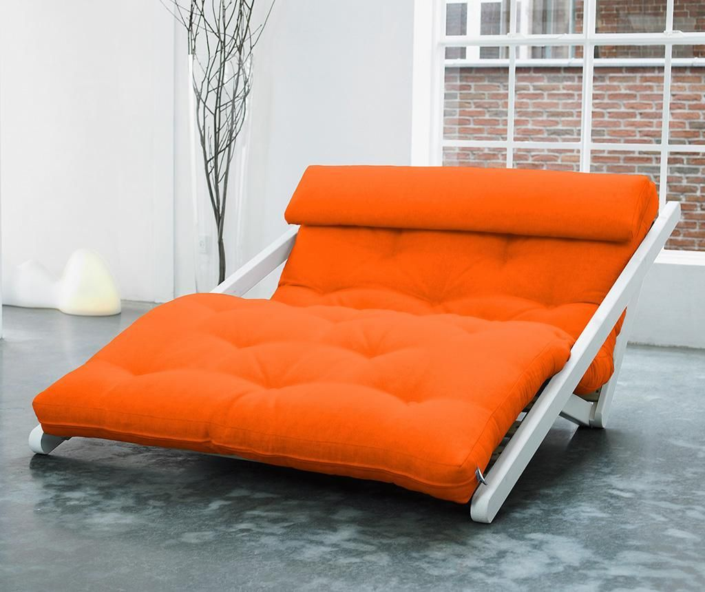 Figo Wide White and Orange Kihúzható nappali heverő
