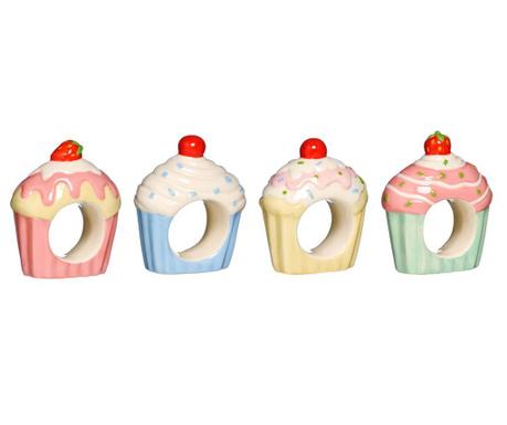 Set 4 obročkov za prtičke Cupcake