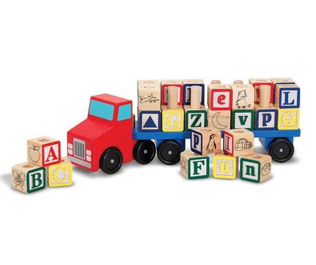 Alphabet Játék teherautó és 28 db kocka