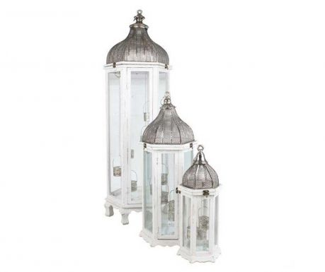 Set 3 lantern Dome White