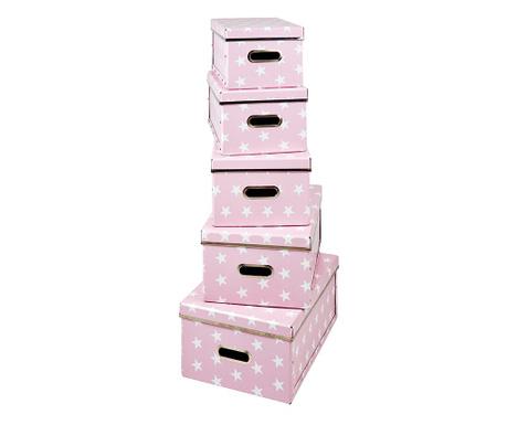 Set 5 cutii cu capac pentru depozitare Joachim Pink