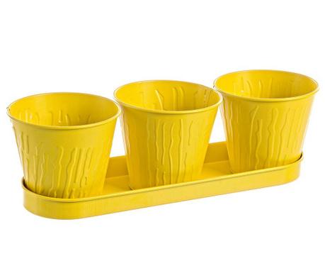Zestaw 3 doniczek z tacką Terence Yellow