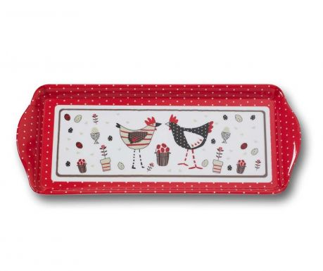Tava pentru servire Chicken Long White Red