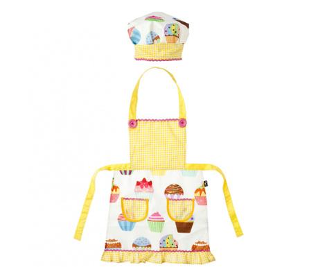 Σετ ποδιά και σκούφος για παιδιά Yellow Cupcake