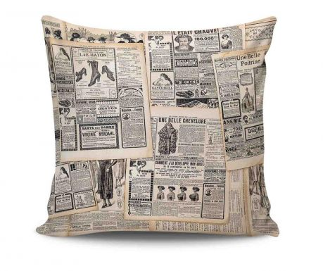 Perna decorativa French Newspaper 45x45 cm
