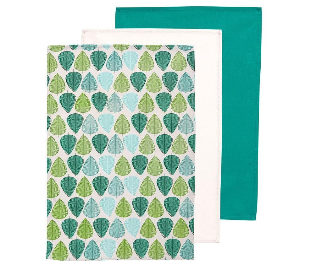 Green Leaf 3 db Konyhai törölköző 40x60 cm