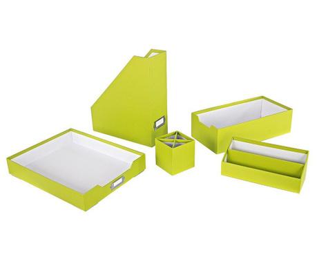 Комплект органайзери  за бюро 5 части Opaco Green