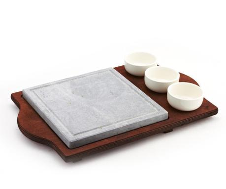 Комплект каменна плоча за готвене и 3 купи Pure and Natural 25x25 см