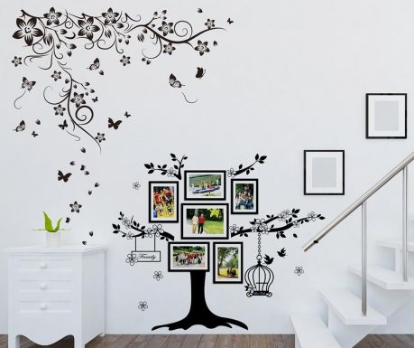 Nalepka s 6 foto okvirji Butterfly Vine and Photo Frame Birdcage
