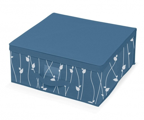 Skladovacia krabica s vekom Leaves Blue M