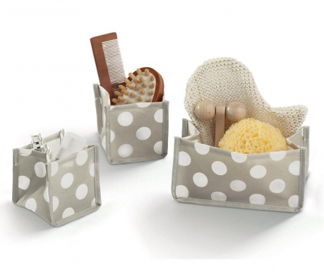 Sada 3 skladateľných úložných košov Jolie Cream