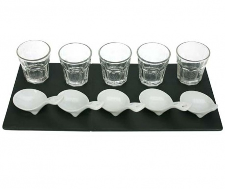 Комплект за аперитиви 11 части Merida Black White