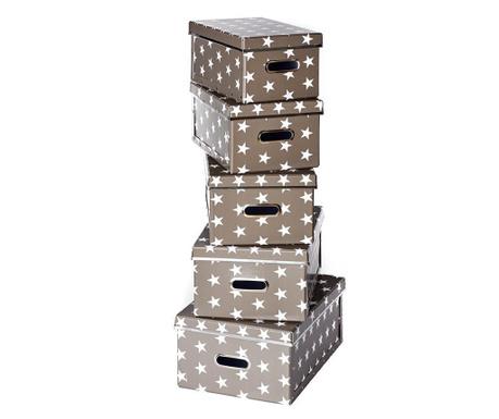 Set 5 cutii cu capac pentru depozitare Joachim Dark Grey
