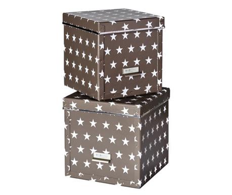 Set 2 cutii cu capac pentru depozitare Assar Dark Grey