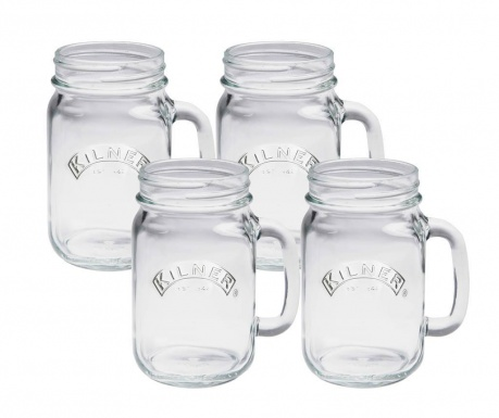 Set 4 skodelic Kilner Transparent 400 ml