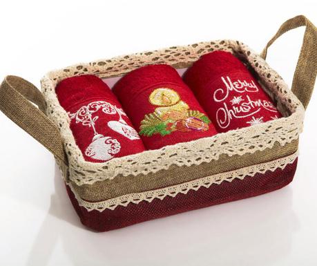 Set 3 prosoape de bucatarie in cos Santa Christmas Gifts 30x50 cm