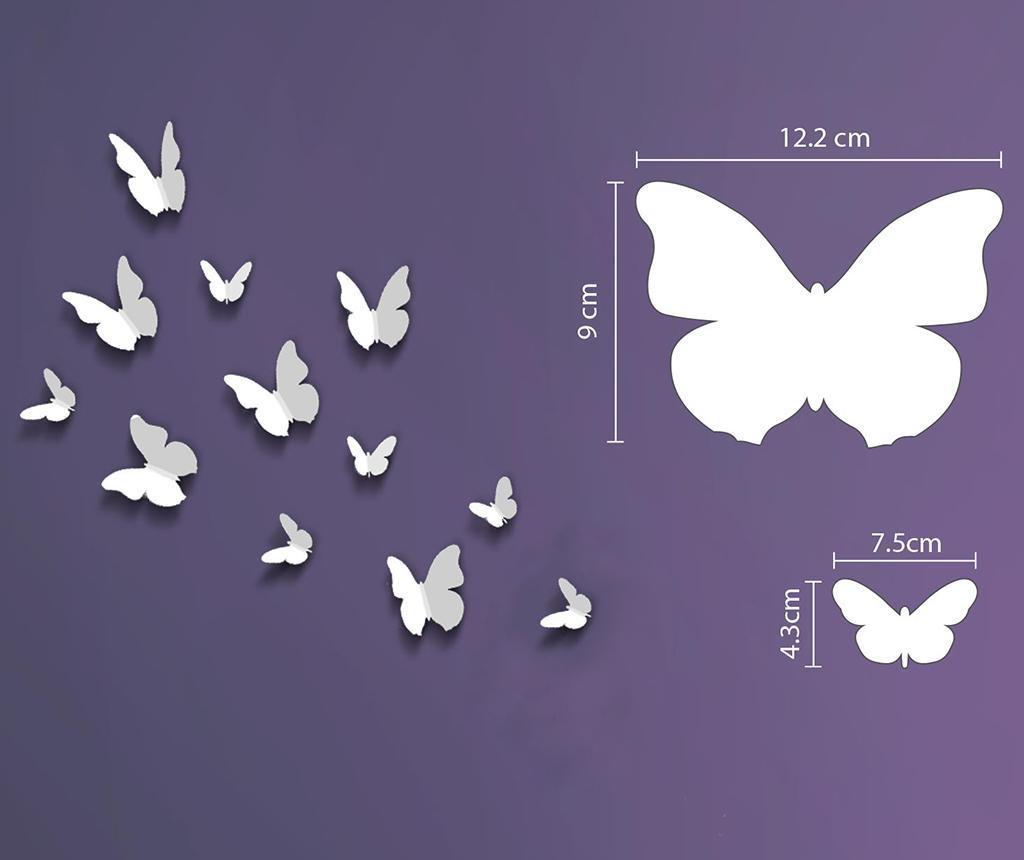 Set 12 stickere 3D Butterfly White