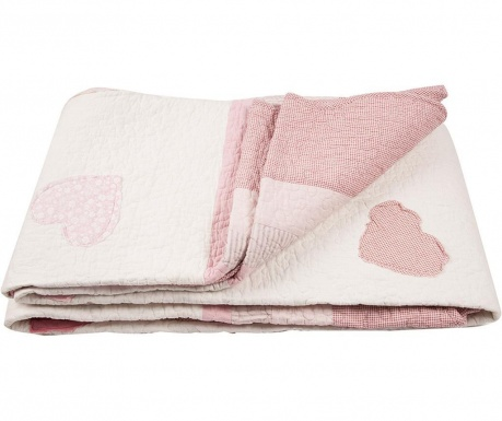 Ватирана кувертюра Hearts Patch Pink 180x260 см