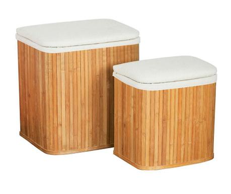 Bamboo 2 db Ruháskosár fedővel