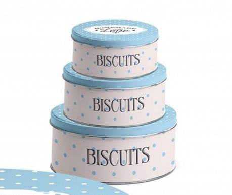 Set 3 cutii cu capac Homemade Blue Biscuits