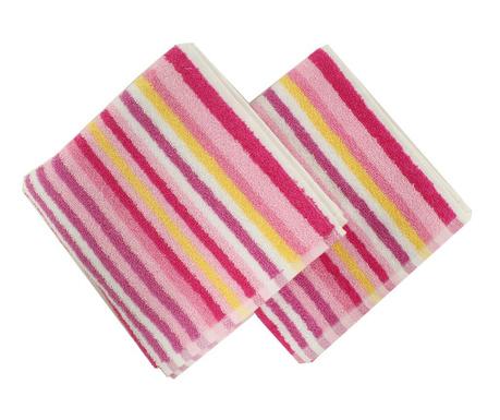 Zestaw 2 ręczników kąpielowych Stripes Pink 40x80 cm