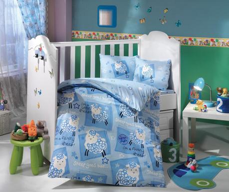 Otroška posteljnina Poplin Supreme Sheep Blue