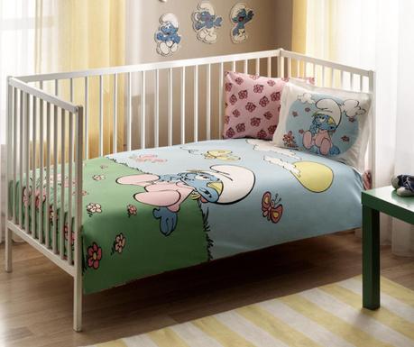 Posteljina za krevetić  Ranforce Smurfs Pink