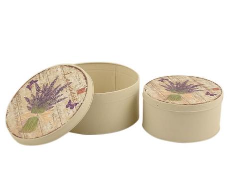 Zestaw 2 pudełek z pokrywką Lavender Bouquet Round