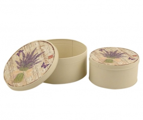 Sada 2 krabíc s vekom Lavender Bouquet Round