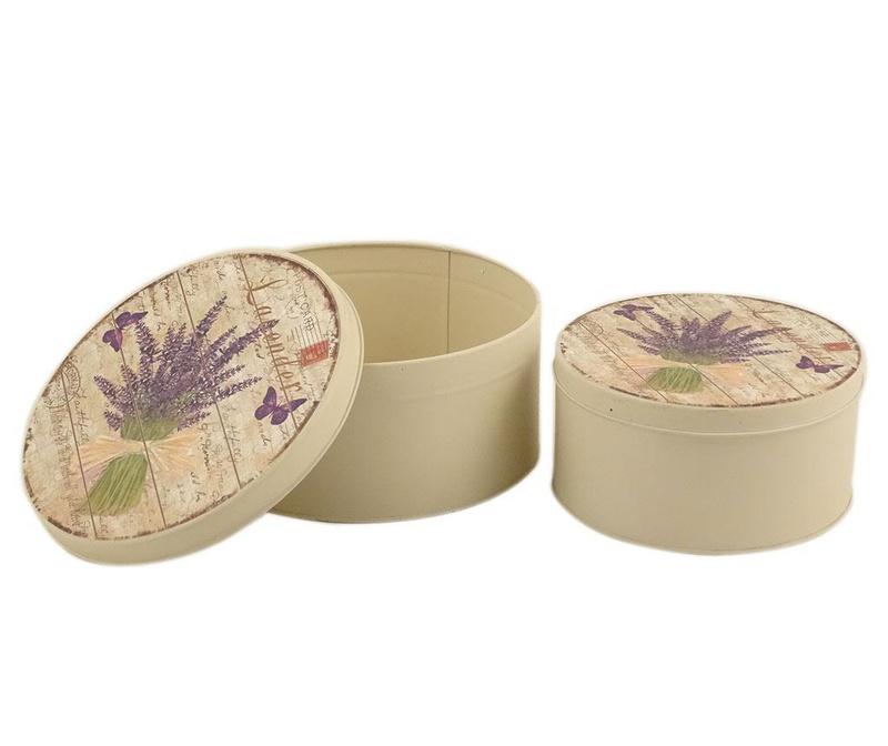 Set 2 cutii cu capac Lavender Bouquet Round