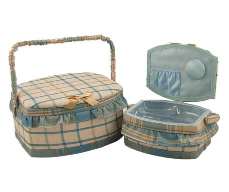Set 2 košaric za šivalni pribor Bombata Blue