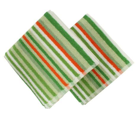 Zestaw 2 ręczników kąpielowych Stripes Green 40x80 cm