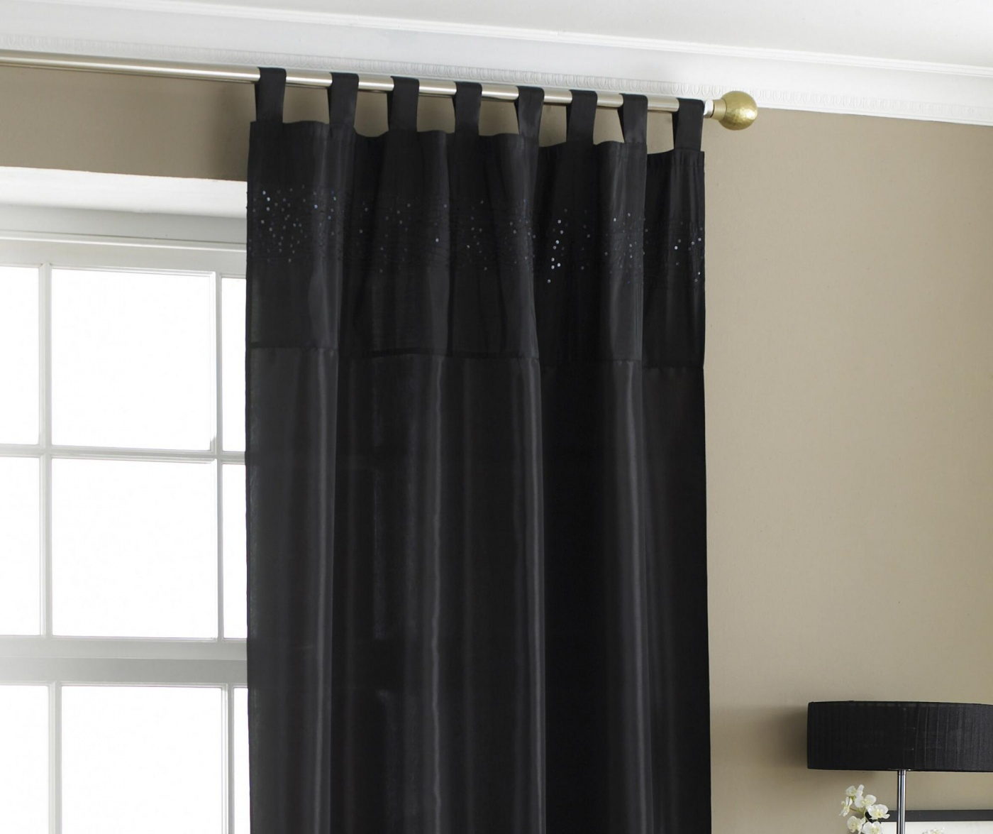 Draperie Taffeta Bit Black 145x228 cm