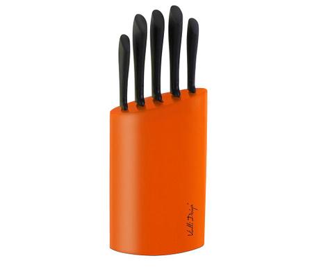 Set 5 nožev in držalo Hundred Orange