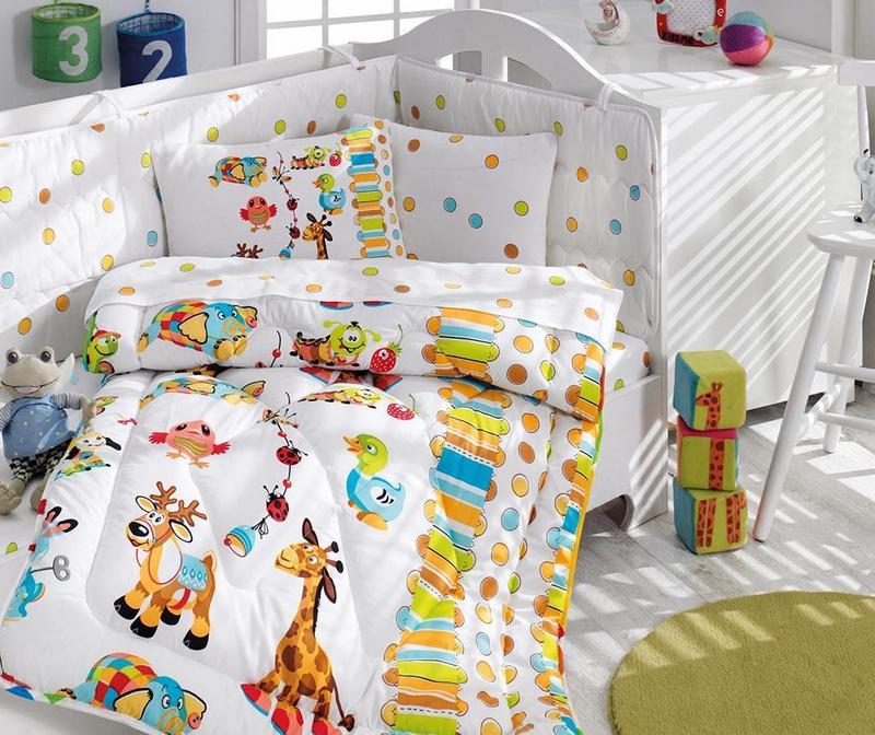 Posteljina za krevetić, poplun i zaštita Ranforce Giraffe 95x145