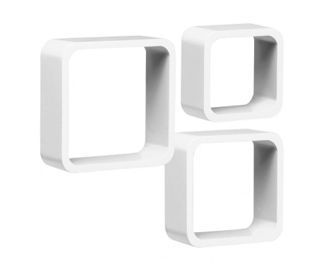 Set 3 zidne police Cube Rounded White