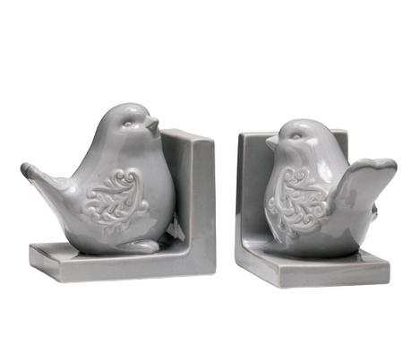 Set 2 držača za knjige Birds Grey