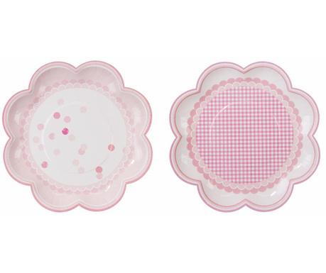 Set 8 krožnikov za enkratno uporabo Pink Flowers