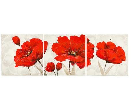 Sada 3 obrazů Red Flower 40x40 cm